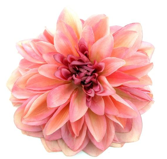 Big pale pink Dahlia  oversized maxi flower brooch pin
