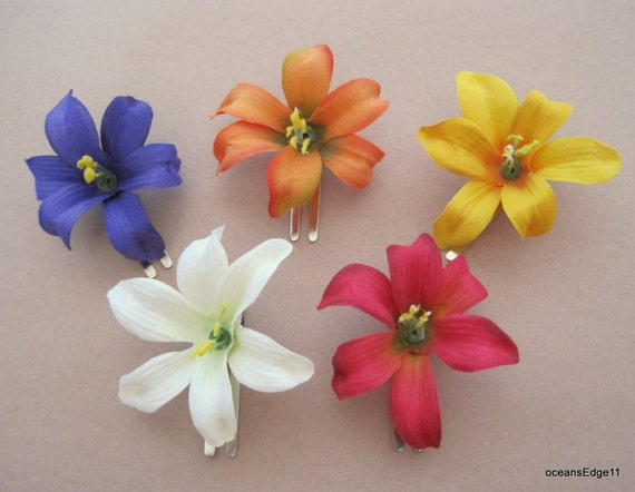 2 inch multi lily silk flower hair clip five pc lot etsy image 0 mightylinksfo