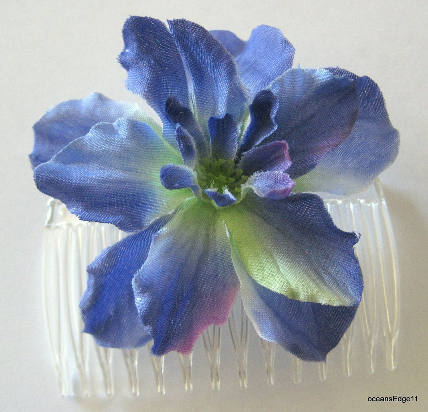 275 Periwinkle Blue Apple Blossom Silk Flower Hair Comb Etsy