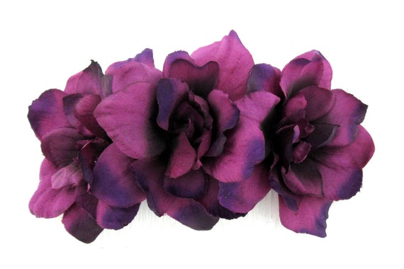 Bridal Prom Details about  /Triple Brown Apple Blossom  Silk Flowers  Hair Comb Rockabilly