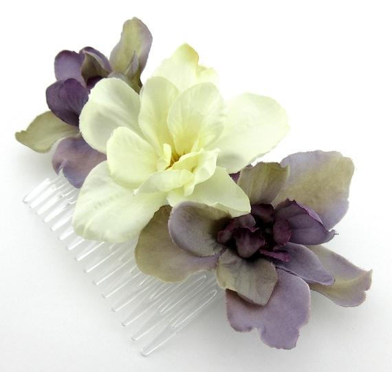 Mauve Lavender Gray Apple Blossom Silk Flower Hair Comb,Bridal,Pin Up