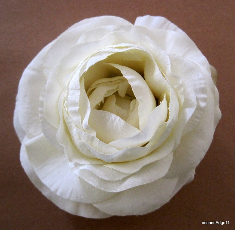 "3.5/"" White Cream Lily Silk Flower Brooch Pin Hat,Scarf"
