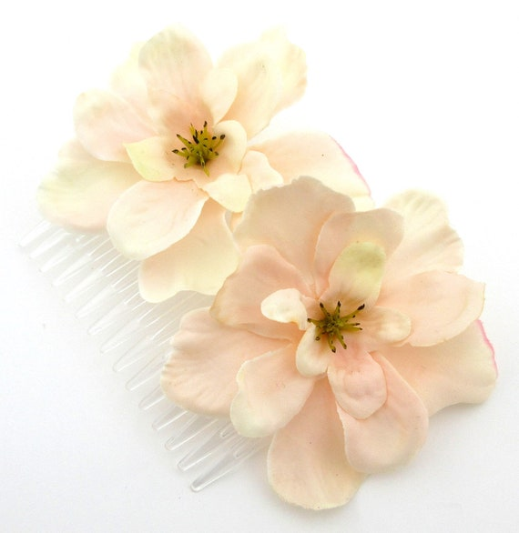 Double Brown Apple Blossom  Silk Flowers  Hair Comb,Party Rockabilly,Wedding