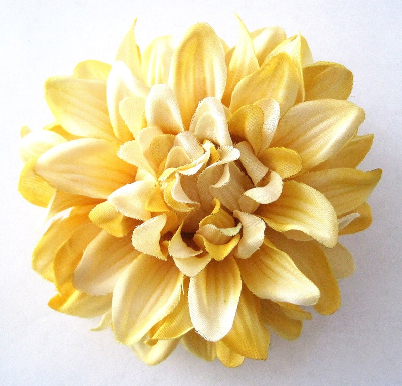 """4.5/"""" Variegated Olive Green Dahlia,Poly Silk Flower Hair Clip,Pin Up,Updo,Party"""