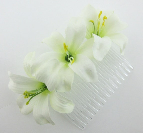 "Triple Cream White 3.5/"" Lily Silk Flower Hair Comb,Pin Up,Updo,Bridal"