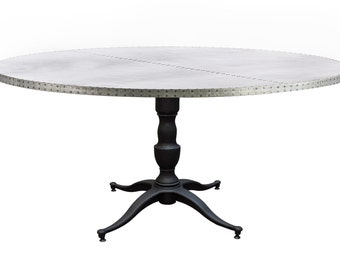 Francesca Round Zinc Metal Top Dining Table   Zinc Table   Zinc Dining Table    Round Table