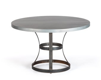 Madera Steel Ring Zinc Top Dining Table - Round Zinc Table - Zinc Dining Table - Pedestal Table - Occasional Table
