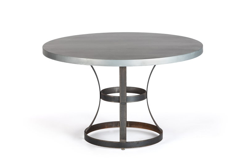 Round Table Madera.Madera Steel Ring Zinc Top Dining Table Round Zinc Table Zinc Dining Table Pedestal Table Occasional Table