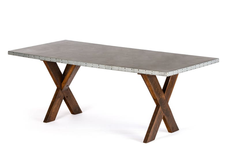 X Base Trestle Zinc Top Dining Table