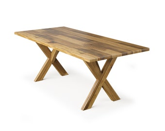 X Base Wood Dining Table