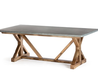 French Trestle Zinc Top Dining Table - Zinc Table - Zinc Dining Table -