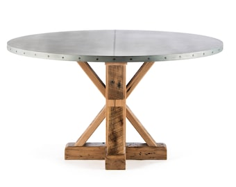 French Trestle Round Zinc Top Dining Table - Zinc Table - Zinc Dining Table  - Pedestal Table - Kitchen Table