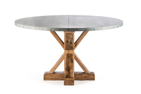 French Trestle Round Zinc Top Dining Table Zinc Table Zinc | Etsy