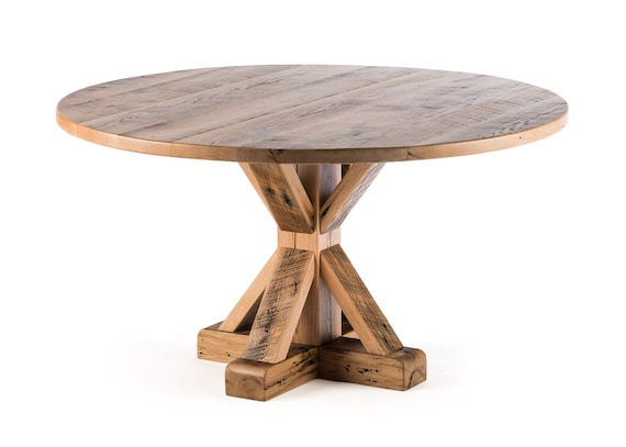 French Trestle Round Pedestal Wooden Dining Table - Reclaimed Oak Barnwood  - Wood Table - Kitchen Table - Custom Made Dining Room Furniture