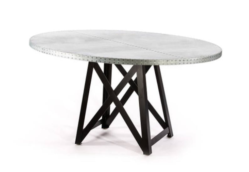 Delicieux Uptown Steel Ring Zinc Top Dining Table   Round Zinc Table   Zinc Dining  Table   Pedestal Table   Round Kitchen Table