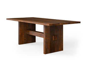 The Redford Dining Table - Solid Reclaimed Barn Oak Wood - Custom Made for Dining, Crafts, Work