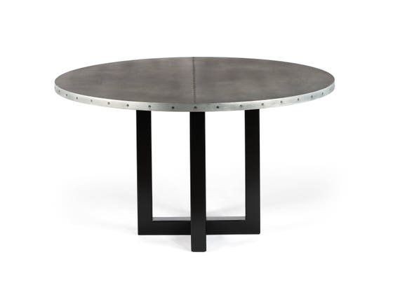 Round Zinc Top Dining Table