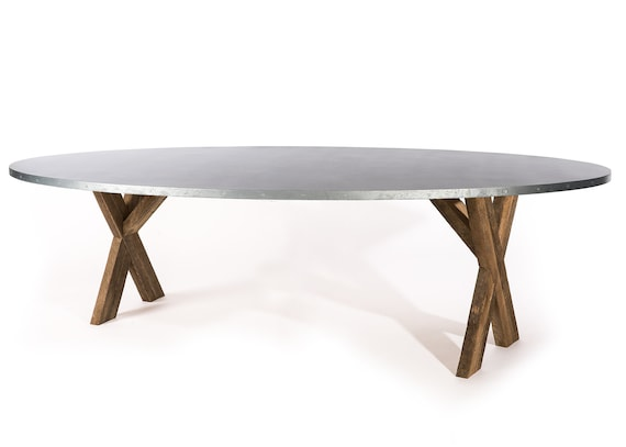Excellent X Base Trestle Zinc Top Oval Dining Table Zinc Dining Table Kitchen Table Harvest Table Dining Room Table Desk Oval Zinc Table Cjindustries Chair Design For Home Cjindustriesco