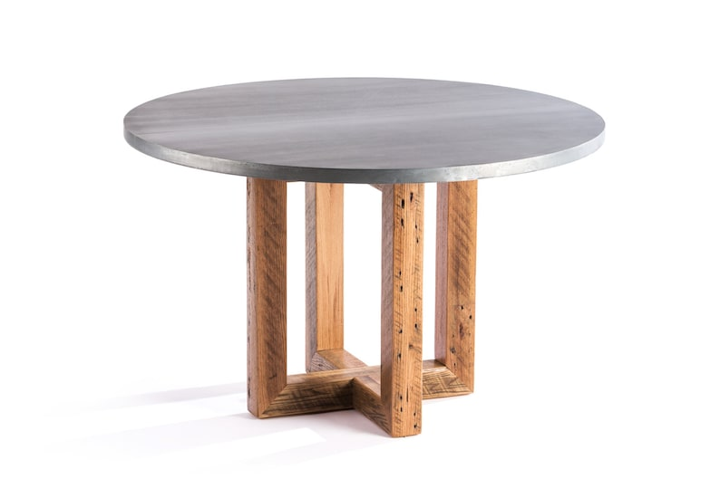 The Winston Round Zinc Top Dining Table Zinc Table Zinc Etsy