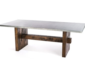 The Redford Zinc Top Dining Table - Zinc Table - Zinc Dining Table - Kitchen Table - Zinc Top Desk - Conference Table