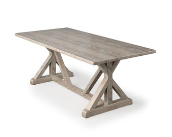French Trestle Wood Dining Table