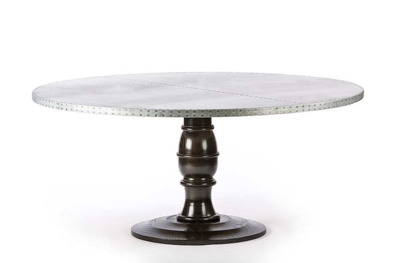 Charmant Providence Round Zinc Top Dining Table   Zinc Table   Zinc Dining Table    Round Table   Pedestal Table Base