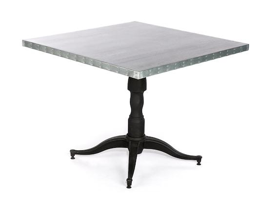 Francesca Square Zinc Top Dining Table - Zinc Table - Zinc Kitchen Table -  Square Table - Square Pedestal Kitchen Table - Pedestal Table
