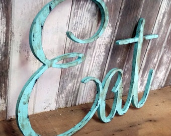 EAT sign shabby chic aqua wall hanging home decor photo prop cottage teal farmhouse primitive gift distressed aged style
