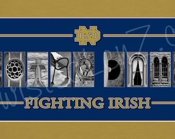 Notre Dame Fighting Irish Alphabetography Collage
