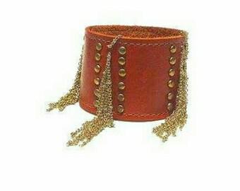 Leather tassle cuff