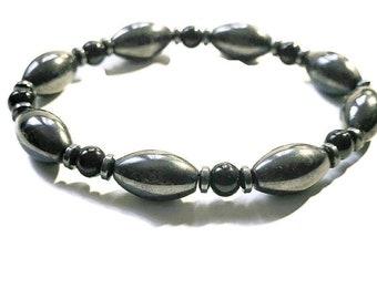 Hematite Black Onyx beaded bracelet