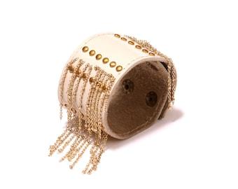 Leather studded chain tassle cuff