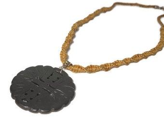 Hemp/Cannabis necklace with Black Tourmaline medallion