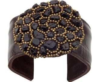 Leather & Onyx cuff