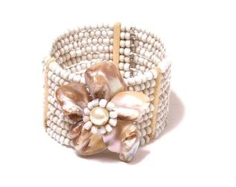 Beaded Abalone shell flower cuff