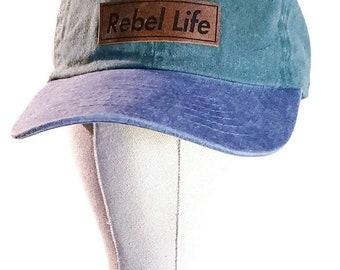Rebel life two tone denim golf cap