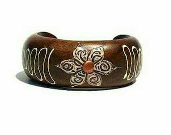 Handpainted floral mahogany wood cuff