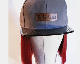 Rebel life Velour truck hat in grey with black patent leather