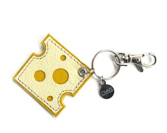 Cheese Purse Charm   Foodie Gift   Leather Key Chain Key Fob   Fake Food Flair   Cheese Slice Charm   Packers   Cheesehead   Emoji Keychain