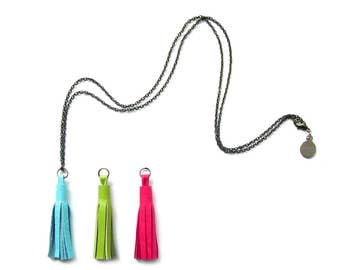 """Interchangeable Leather Tassel Necklace Trio 