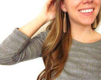 Long Leather Tassel Stud Earrings   Large Tassel Stud Earrings   Boho Fringe Earrings   Statement Earrings   Tassle Earrings   Gift for Her