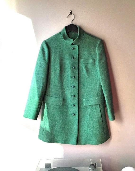 Women's Nehru Style Green Wool Jacket Size 5 Small