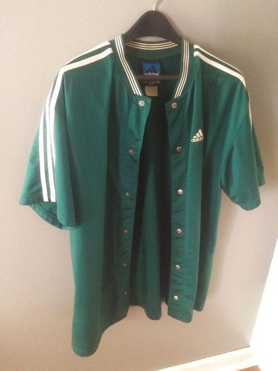 1aa402e4dc68 Adidas Team Green Basketball Snap Warm Up Jacket Sized XL NBA