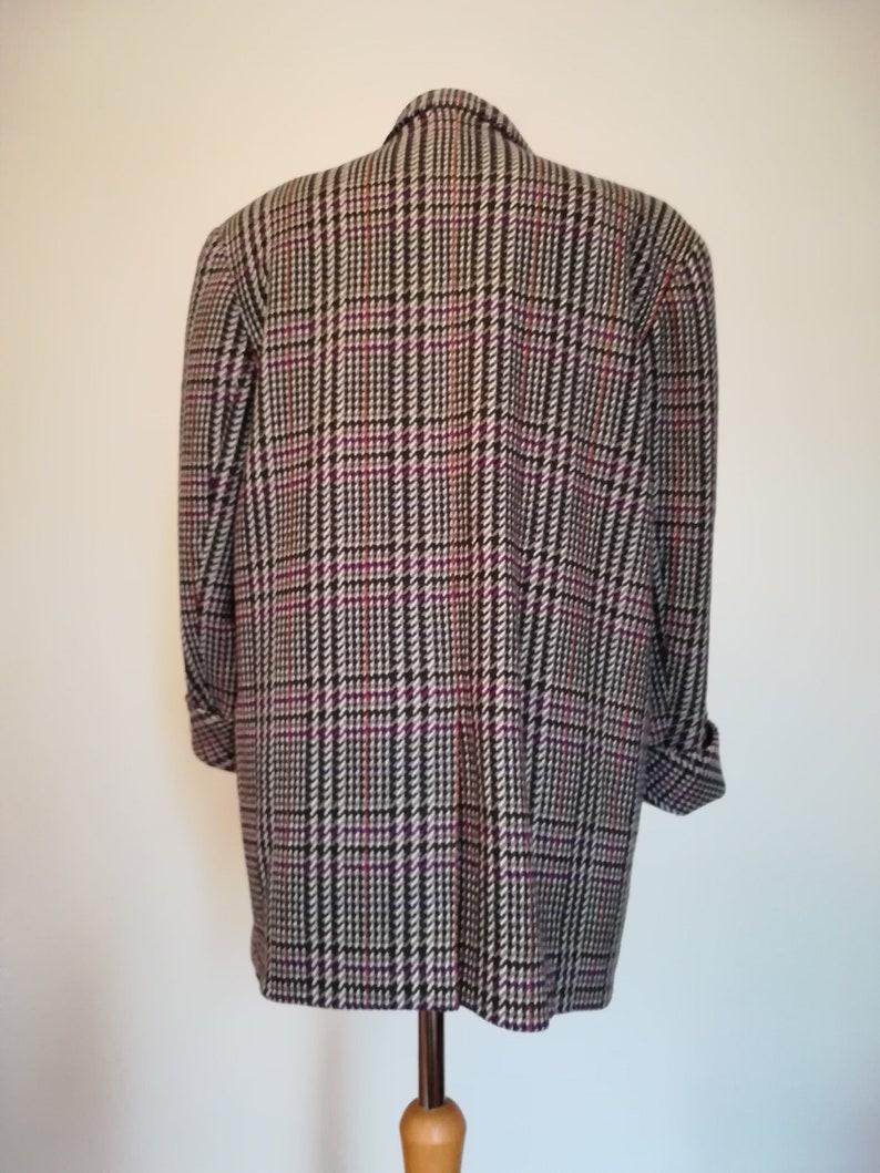 80s 90s shoulder pads oversized Etienne Aigner checked Blazer Jacket