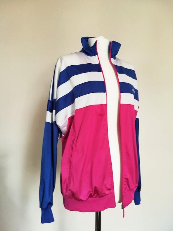 Adidas Track Jacket, vintage 80s, Women Girls white pink and purple, Size M