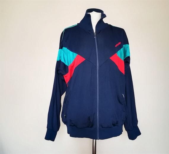 9fbd1e5cbd8b Vintage Adidas Track Jacket 80s navy turquoise red Mens