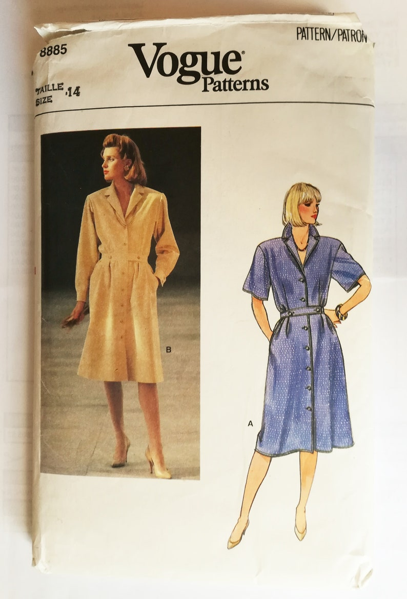 80s 9s Shirt Dress Sewing Pattern mid length long or short sleeves buttoned and collared Vogue 8885, Size 14