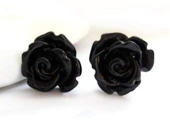 230a6e261c4f SALE - Black Rose Stud Earrings