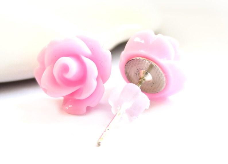 Light Pink Rose Stud Earrings SALE