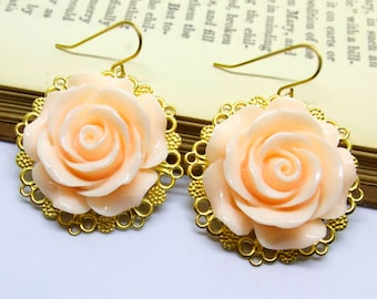 Peach Rose Brass Filigree Earrings